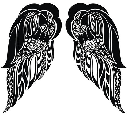 Disegnati a mano ali d'angelo Archivio Fotografico - 41772084