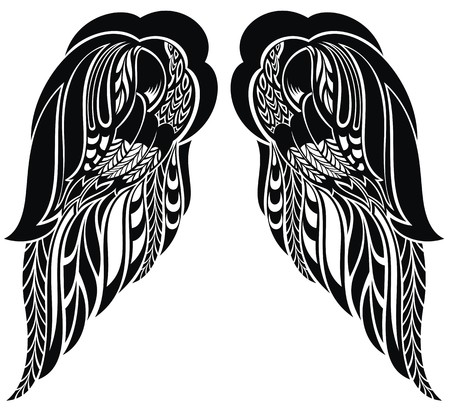 tattoo wings: Hand drawn angel wings Illustration