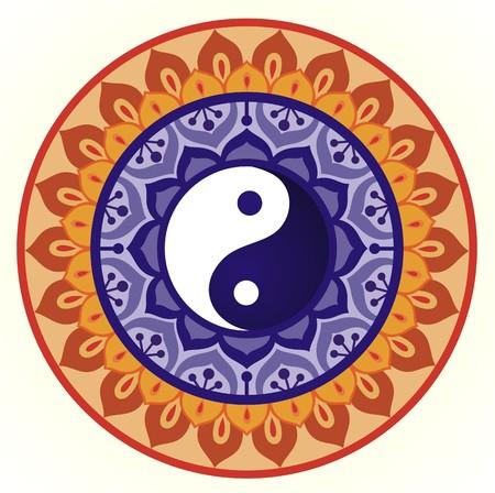 Lotus Yin Yang Design Illustration
