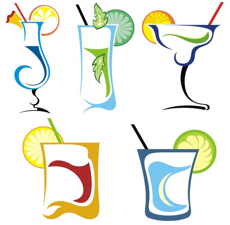 pina: Alcohol drinks and cocktails icon set