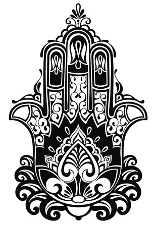 blessing: Indian hand drawn hamsa with ethnic ornaments