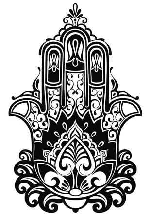 Indian hand getekende hamsa met etnische ornamenten