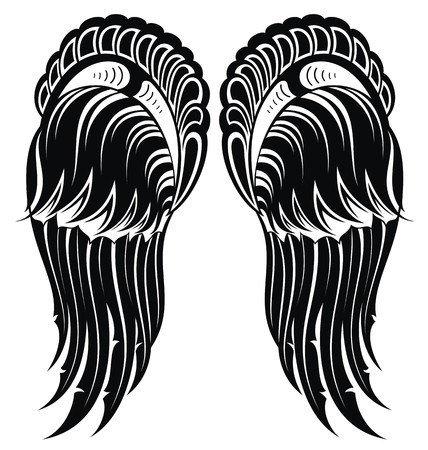 gothic angel: Abstract vector illustration wings Illustration