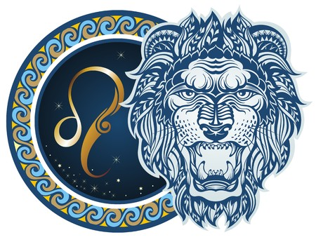 tribal design: Zodiac signs - Leo