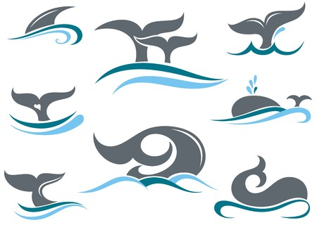 water wave: Whale tail icons