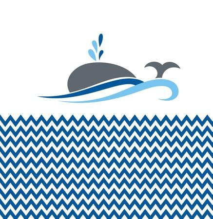 children background: Vector illustration with whale Illustration