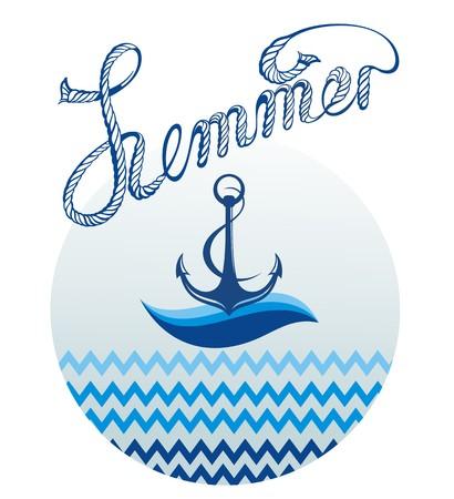 anchored: Blue anchor icon.Summer card