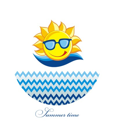 happy smile: Summer Sun Face with sunglasses and Happy Smile. Vector Illustration