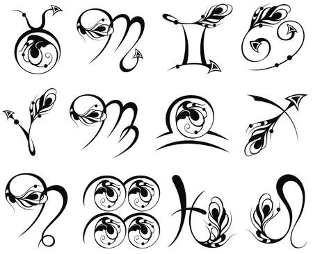 sagitario: Símbolo del zodiaco iconos ilustración vectorial Vectores