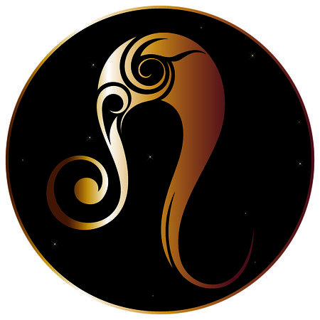 zodiac background: Leo zodiac sign Illustration