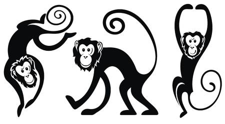 jumping monkeys: Funny monkeys set Illustration