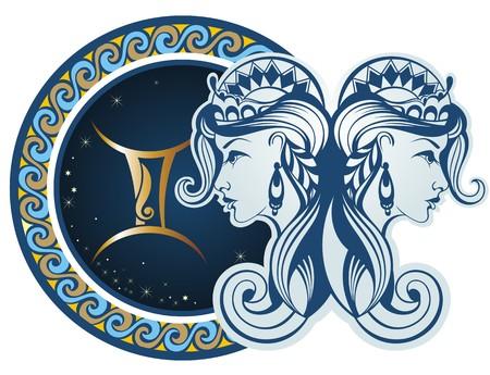 조디악 표지판 - 쌍둥이 자리 일러스트