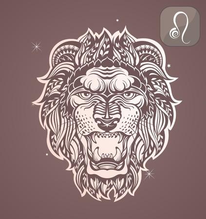 zodiacal: Leo zodiac sign Illustration