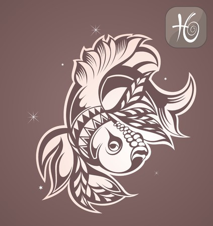 tribal: Pisces zodiac Illustration