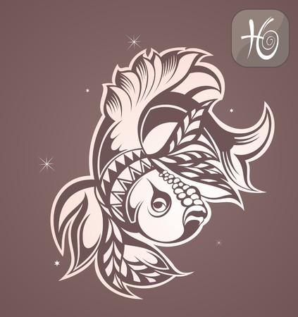 tribales: zodiaco piscis Vectores