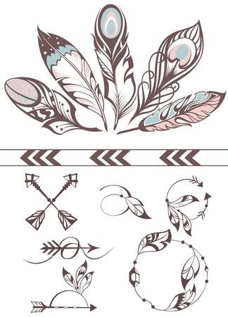plumas de pavo real: Ejemplo dibujado mano con plumas Vectores