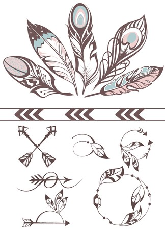 Hand drawn illustration with feathers