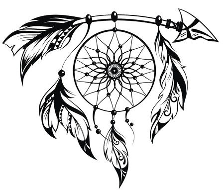 tribal: Hand drawn illustration of dream catcher