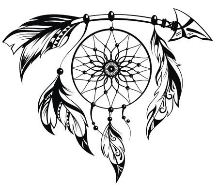 totem indien: Main Illustration tirée du capteur de rêves