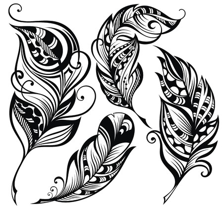 indische muster: Set von Federn