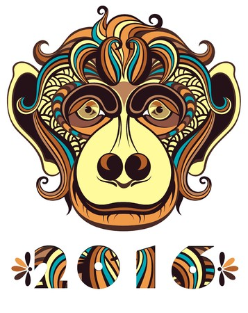 chinese ethnicity: Vector illustration of a monkey