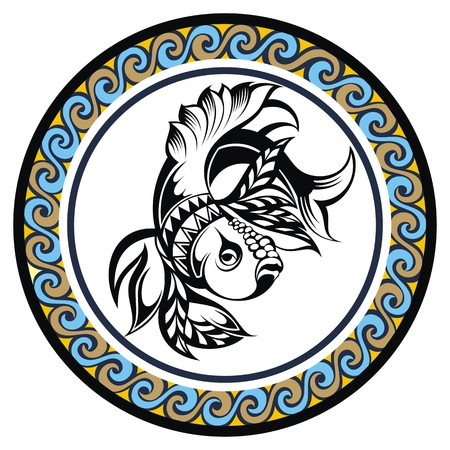 zodiacal signs: Decorative Zodiac sign Pisces Illustration