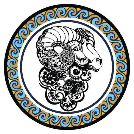 signes du zodiaque: Décoratif Zodiac signe du Bélier Illustration