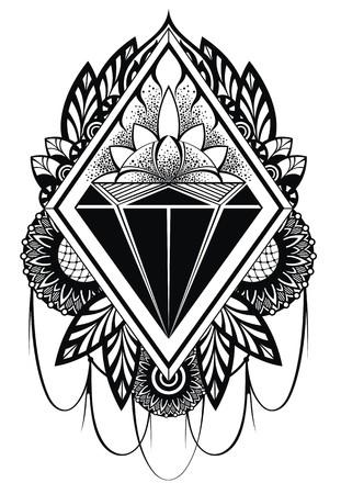 tatouage fleur: diamant tatouage