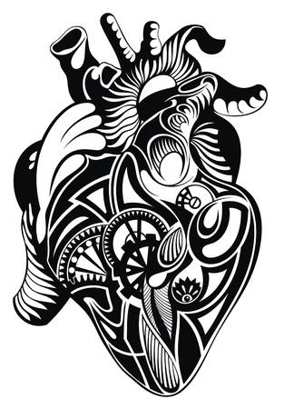 Corazón humano. corazón ilustración del tatuaje Foto de archivo - 49082371