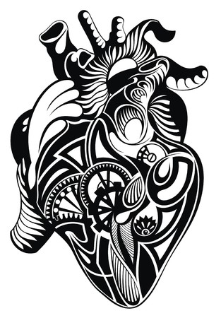human heart: Corazón humano. corazón ilustración del tatuaje