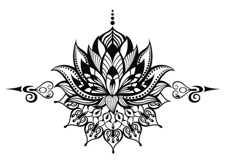 lilies: Lotus flower.Tattoo Illustration