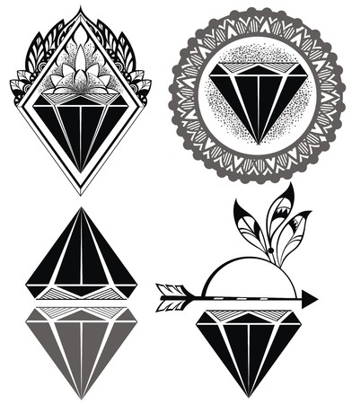 diamond shape: Diamond Vintage Hipster Labels of diamonds