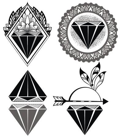 diamante: Etiquetas de diamante de la vendimia de diamantes Hipster Vectores