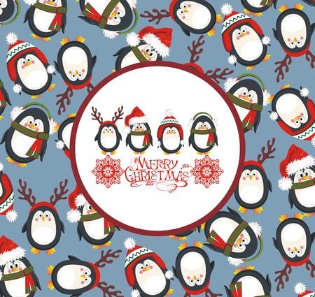 pinguinos navidenos: Fondo de la Navidad con los ping�inos lindos Vectores