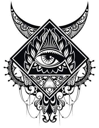 Eye of Providence.Religion, spirituality, occultism, tattoo art. Çizim