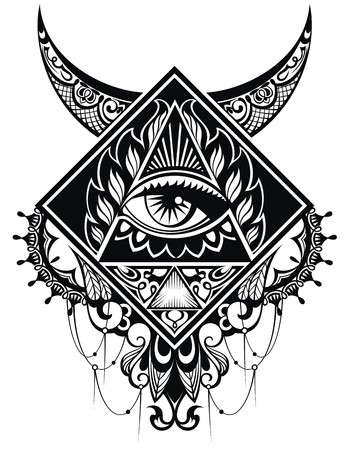 providence: Eye of Providence.Religion, spirituality, occultism, tattoo art. Illustration