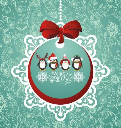pinguinos navidenos: Bola de Navidad con los ping�inos