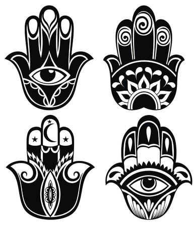 Hamsa mano, mano de Fátima - amuleto Ilustración de vector