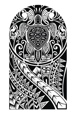 Traditional Maori tattoo design with turtle Vettoriali