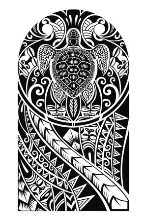 maories: Diseño tradicional del tatuaje maorí con la tortuga