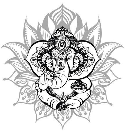 Tarjeta de felicitación hermosa con Elephant.Ornament dios Ganesha Foto de archivo - 51898738