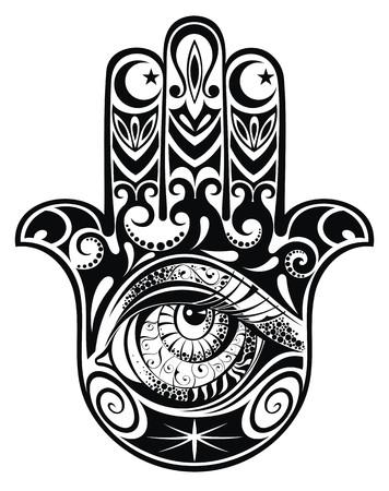 Hamsa, hand van Fatima, vector illustratie