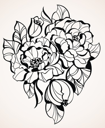 ink painting: roses