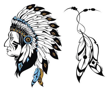 tribales: Jefe indio norteamericano - ilustración vectorial Vectores