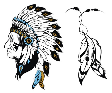 indian headdress: North American Indian chief - vector illustration Illustration