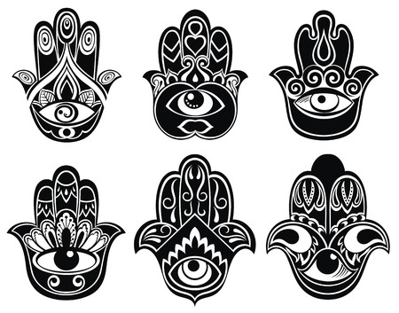 tattoo arm: Hamsa hand, Hand of Fatima - amulet, symbol of protection from devil eye Illustration