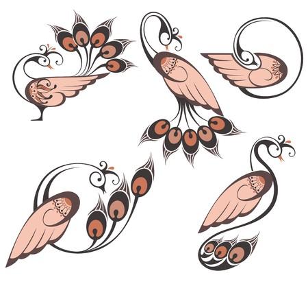 Vector abstract beards. Peacocks