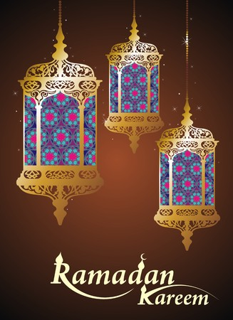 lamps: Hanging Arabic Lamp with on shiny abstract night background for Ramadan Kareem.