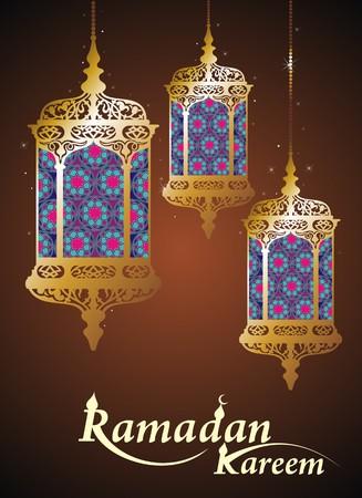 lampada: Hanging arabo Lampada con su sfondo lucido notte astratto per il Ramadan Kareem.