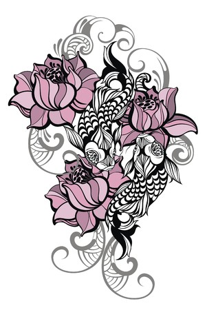 koi: Hand drawn romantic beautiful fish Koi carp with flowers - symbol or harmony, wisdom Illustration